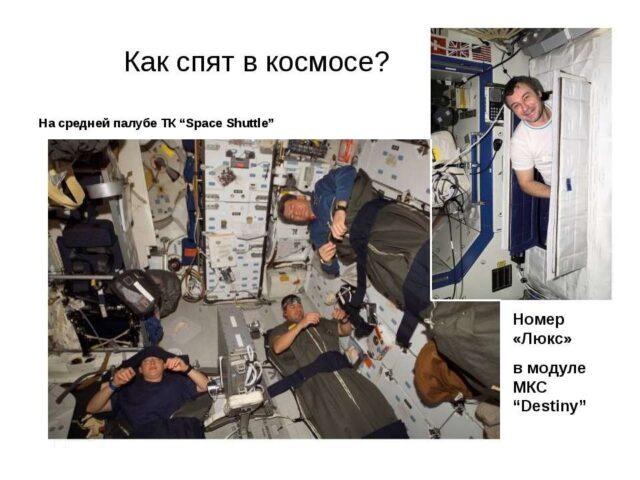 Как спят в космосе
