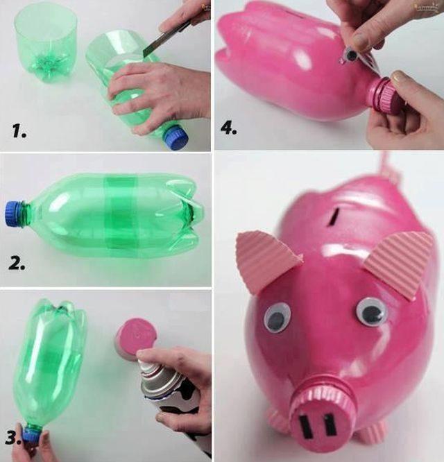 Детская копилка из пластиковой бутылки
